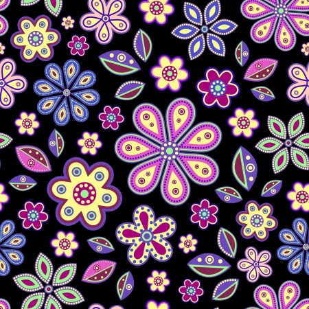 leafs:  illustration of seamless with colorful abstract flowers on black background