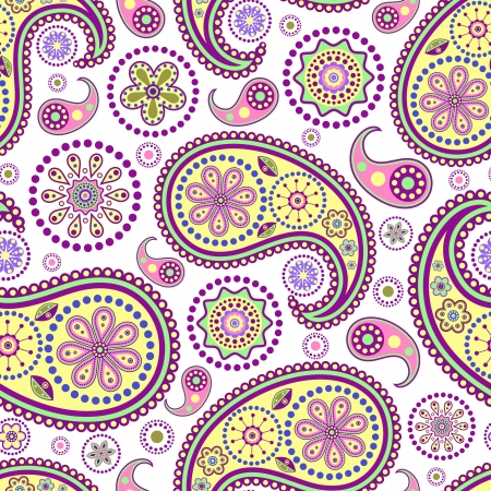 illustration of seamless paisley pattern on white background