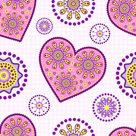 illustration of seamless pattern with abstract heart Vector
