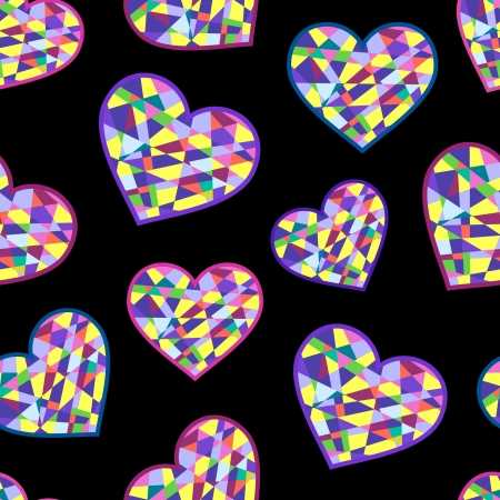 illustration of seamless with abstract geometric hearts on black background Vector