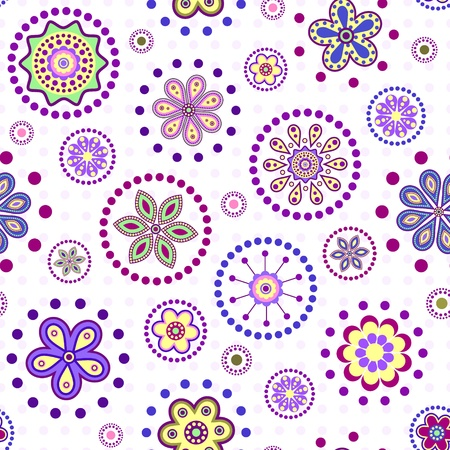 dotted: illustration of  seamless with colorful abstract flowers on white background.
