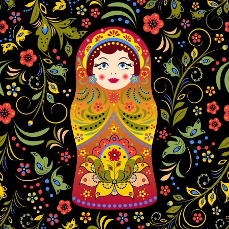illustration of seamless pattern with russian doll matryoshka and abstract flowers