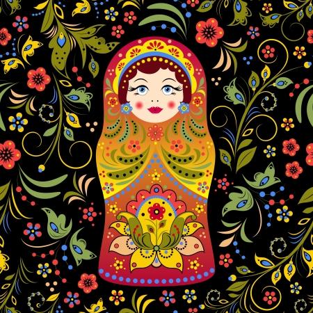 muñecas rusas: ilustración de patrón transparente con la muñeca matryoshka ruso y flores abstractas
