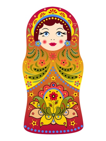 curled lip: illustration of  russian doll matryoshka on white background