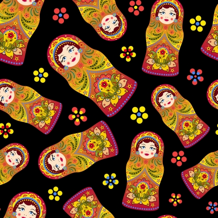 muñecas rusas: ilustración de patrón transparente con muñecas rusas