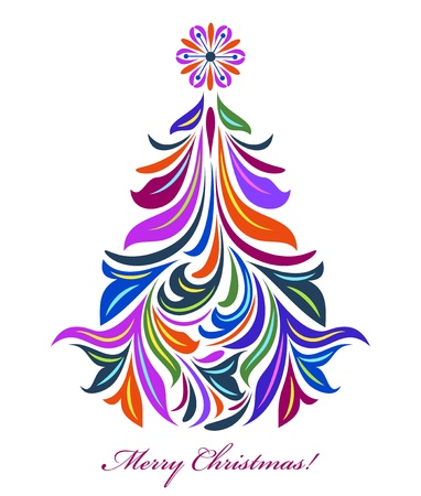 Illustration of abstract christmas tree on white background Stock Vector - 14953653