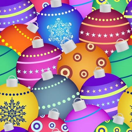 weihnachten tanne: Illustration der bunten Weihnachtskugeln. Nahtlose Muster Illustration