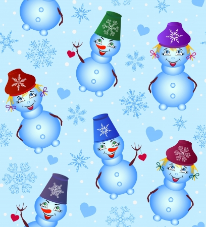 Vector illustration of colorful christmas snowman. Seamless pattern Stock Vector - 14983564
