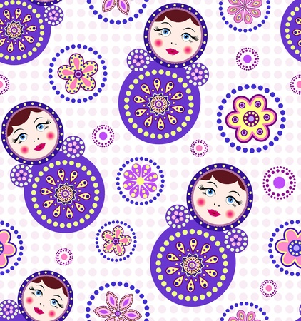 matryoshka: illustration of  seamless pattern with colorful dolls and abstract flowers