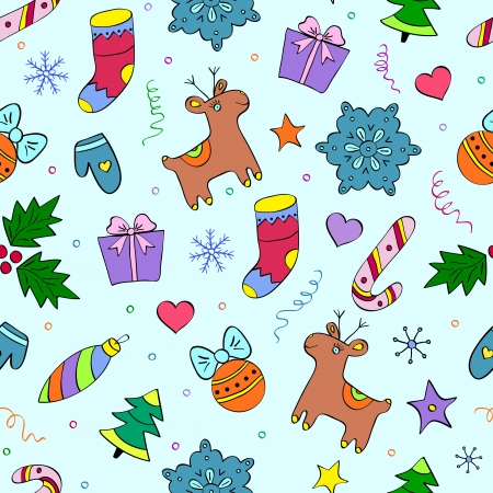 illustration of  colorful christmas seamless pattern  Vector