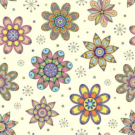 식물상: 추상 꽃과 원활한 패턴의 그림