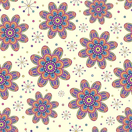 illustration of abstract seamless pattern with colorful flowers