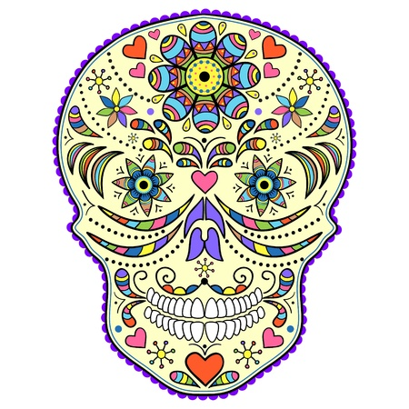 day of dead: Illustration of abstract skull isolated on white background.