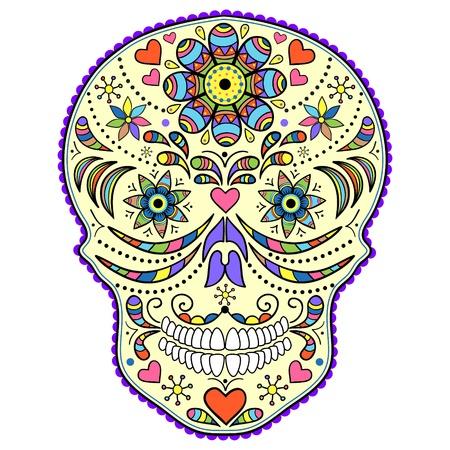dia de muerto: Ilustración del cráneo abstracto aislado sobre fondo blanco.