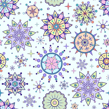 illustration of  christmas seamless pattern with different colorful snowflakes Vector