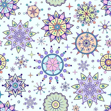 christmas seamless pattern: illustration of  christmas seamless pattern with different colorful snowflakes