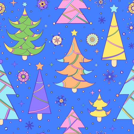 Vector illustration of seamless pattern with abstract christmas tree on blue background Vector