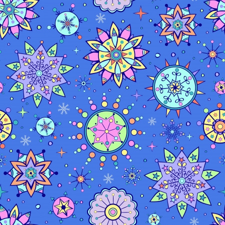 Vector illustration of christmas seamless pattern with different colorful snowflakes Vector