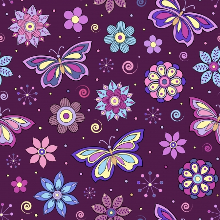 seamless pattern with abstract colorful flowers and butterflies