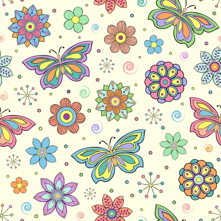 seamless pattern with abstract colorful flowers and butterflies Stock Vector - 15244078