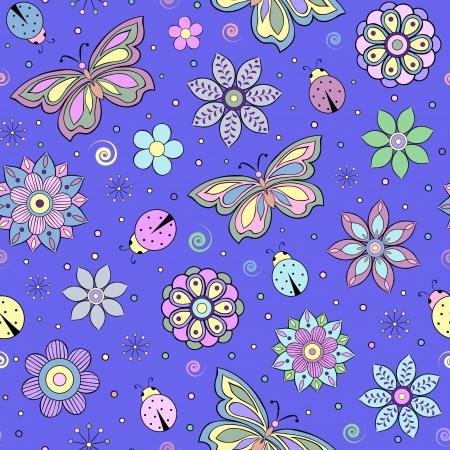 butterfly ladybird: Patr�n sin fisuras con flores abstractas de colores, mariposas y mariquitas