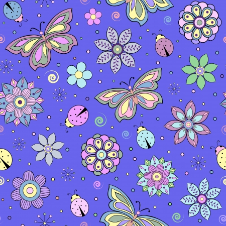 butterfly ladybird: seamless pattern with abstract colorful flowers, butterflies and ladybugs