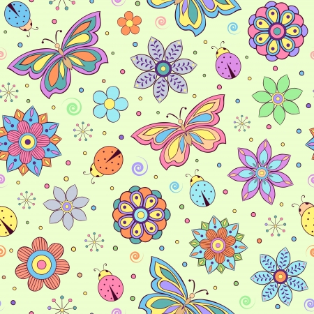 seamless pattern with abstract colorful flowers, butterflies and ladybugs