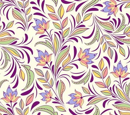 抽象的な花とのシームレスなパターンのイラスト。花の背景  イラスト・ベクター素材