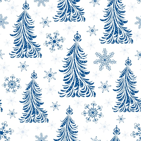 evergreen: illustration of seamless pattern with abstract christmas trees
