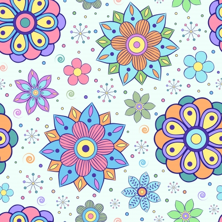 design elements: illustration of seamless pattern with abstract flowers.Floral background