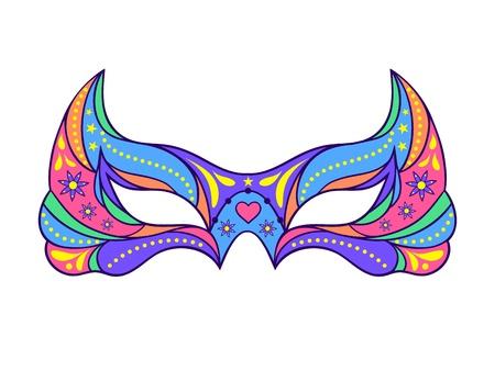 antifaz carnaval: Ilustraci�n de la m�scara de carnaval en el fondo blanco.