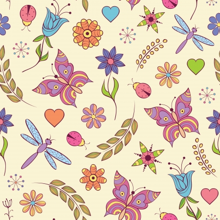 illustration of seamless pattern with abstract colorful flowers Illustration