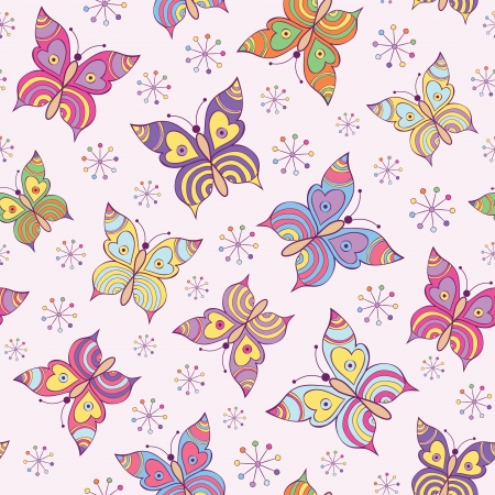 Vector illustration of seamless  pattern witn colorful  butterflies