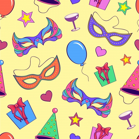 Vector illustration of seamless pattern with different elements of party Stock Vector - 15597474