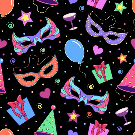 carnival costume: illustration of seamless pattern with different elements of party