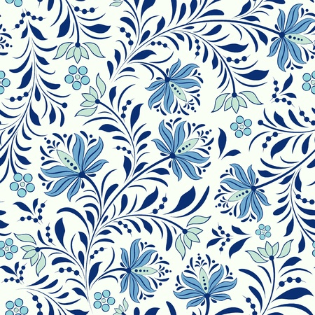 blue flowers:  illustration of seamless pattern with abstract flowers.Floral background Illustration