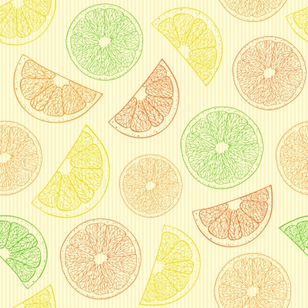 Illustration of seamless pattern with abstract oranges  Vector