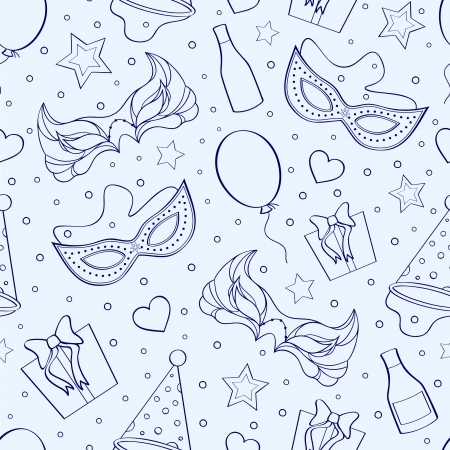 mardi grass: illustration of seamless pattern with different elements of party