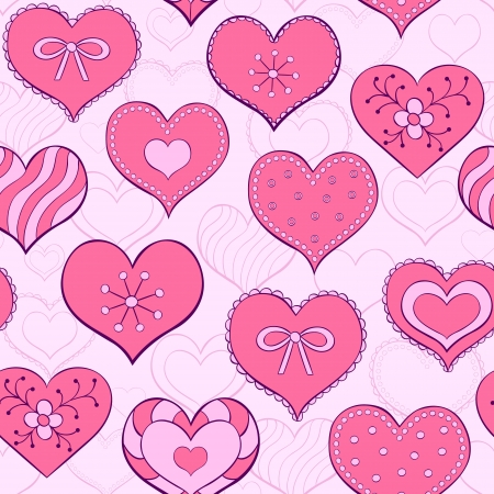 illustration of seamless seamless pattern  with hand drawn valentine hearts Vector