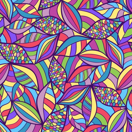 psychedelic background: Vector illustration of abstract seamless pattern with colorful elements