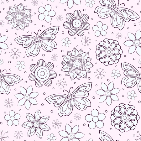 Vector illustration of seamless pattern with abstract colorful flowers and butterflies Çizim