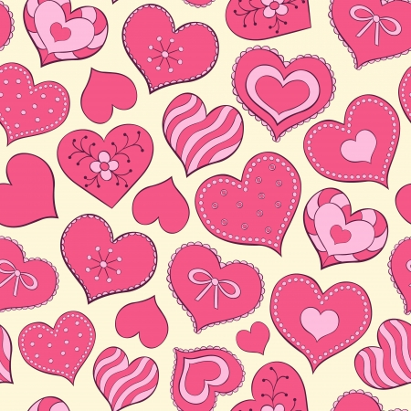 Vector illustration of seamless seamless pattern  with hand drawn valentine hearts Vector