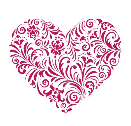 illustration of  red valentine heart  isolated on white background.  Illustration