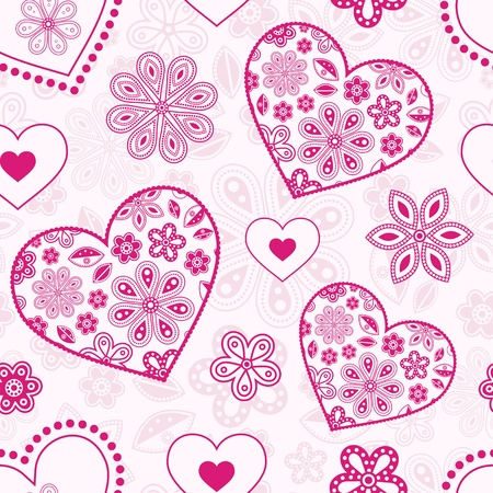 violet red:  illustration of seamless pattern with abstract hearts