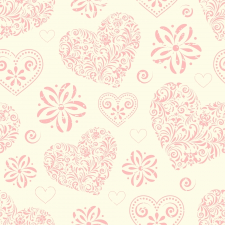 pink hearts: illustration of seamless pattern with abstract hearts