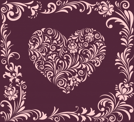 Vector illustration of   valentine heart and abstract plants