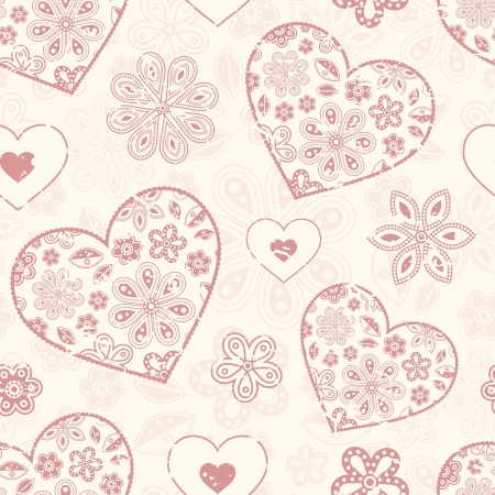 pastel colour: Vector illustration of seamless pattern with abstract hearts