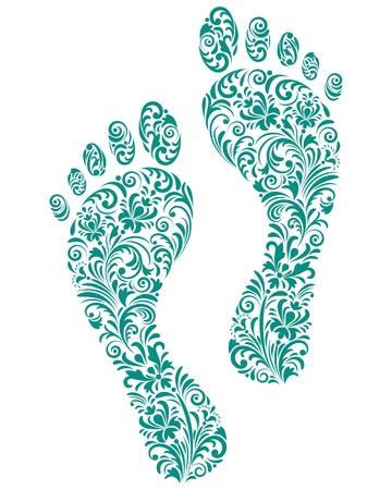 foot print: Vector illustration of green human footprints on white background Illustration