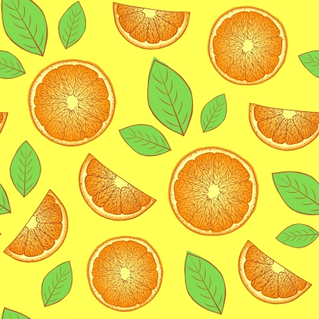 Vector Illustration of seamless pattern with abstract oranges  Vector