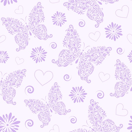 Vector illustration of  seamless pattern with abstract floral butterflies Vector